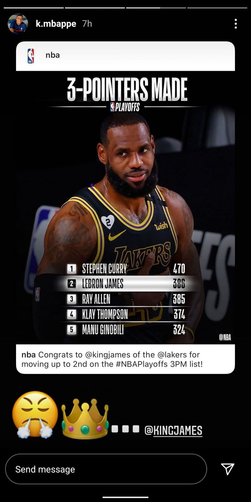 Kylian Mbappe praised LeBron for moving up on all-time playoffs 3-pointers list