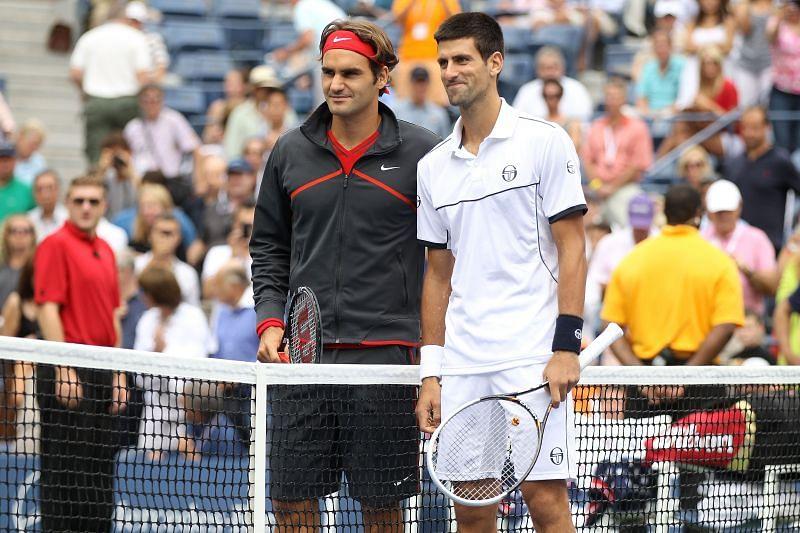 Roger Federer (L) and Novak Djokovic