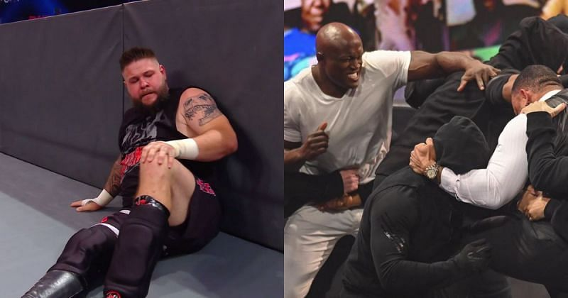 Kevin Owens, The Hurt Business brawling with RETRIBUTION.