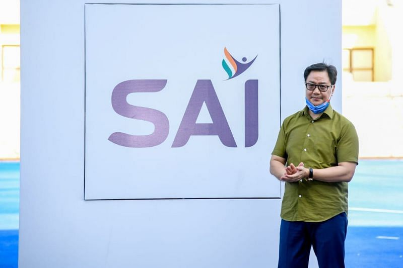 Kiren Rijiju unveiling the new SAI logo
