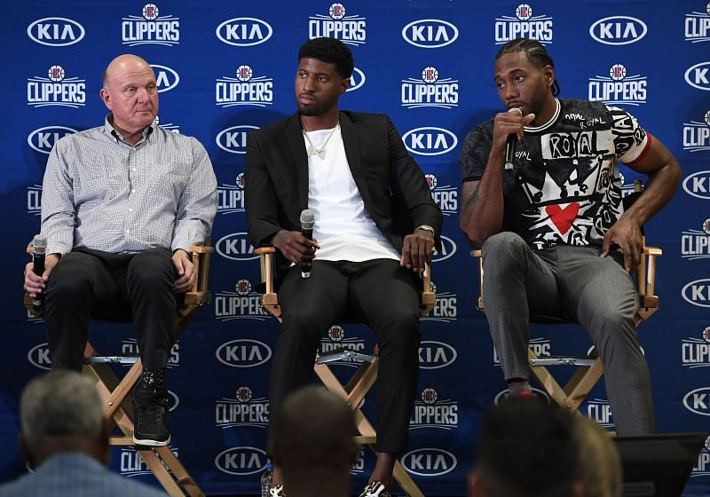 Clippers owner Steve Ballmer with Paul George and Kawhi Leonard