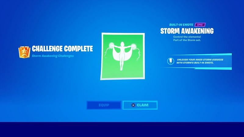 Storm built-in emote will get unlocked as players comeplete her awakening challenges in-game (Image credit: Fortnite)