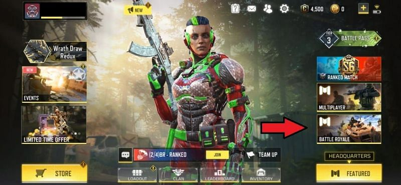 Click on the Battle Royale icon