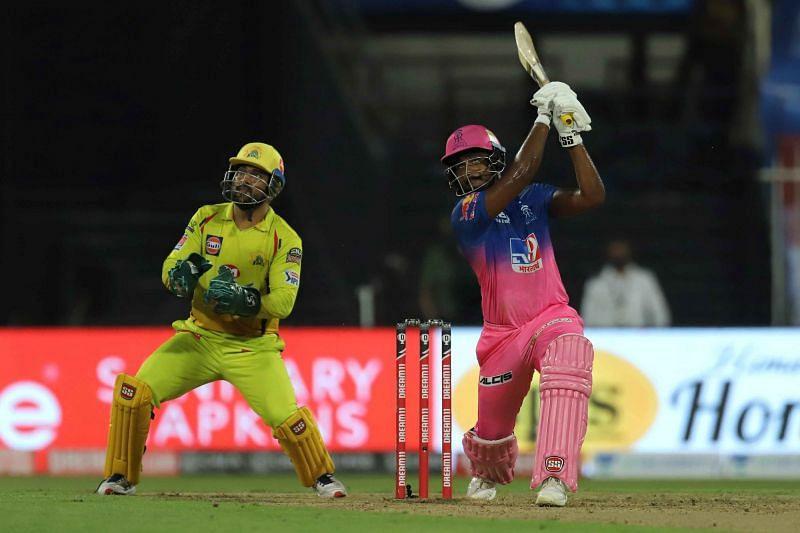 Sanju Samson in action for RR against CSK in IPL 2020