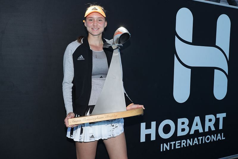 Elena Rybakina with the Hobart International trophy earlier this year.