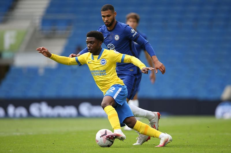 Lamptey in action against his former club Chelsea