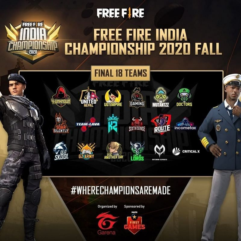 Free Fire India Championship 2020 list of teams