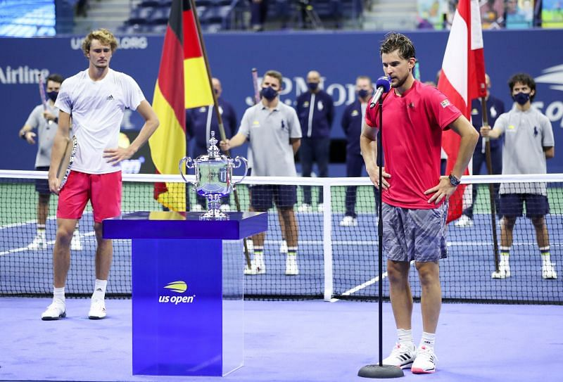Dominic Thiem gives his speech after winning the US Open on Sunday