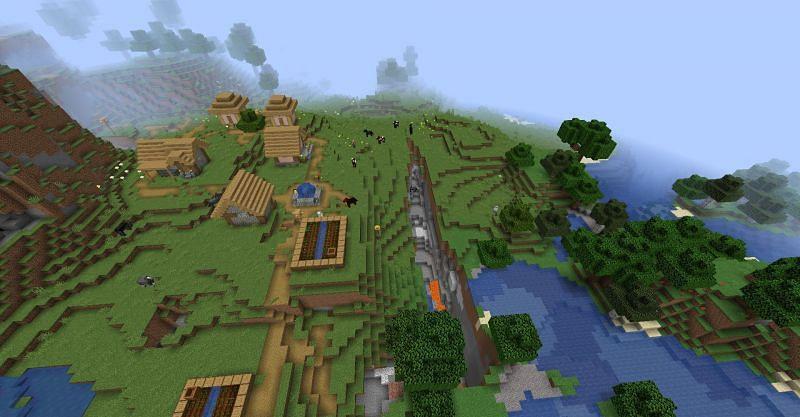 Village and Ravine (Image credits: Minecraft-seeds.com)