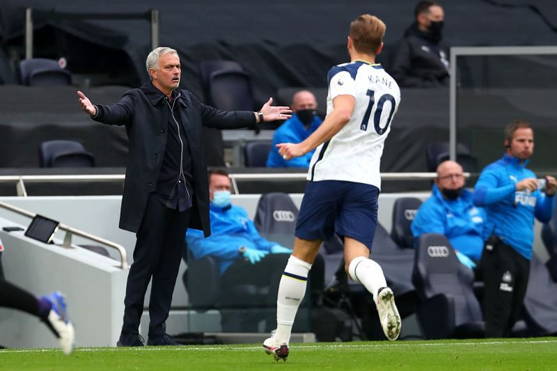 Tottenham Hotspur manager Jose Mourinho and Harry Kane