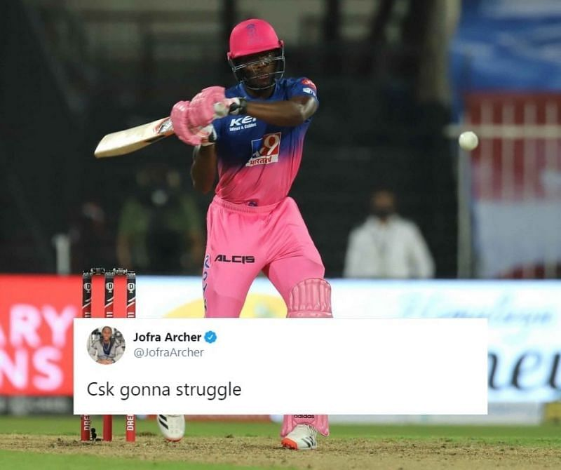 Jofra Archer was in explosive touch with the bat tonight for the Rajasthan Royals