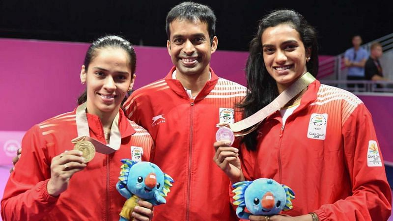 Pullela Gopichand (centre) with his students Saina Nehwal (left) and PV Sindhu (right).