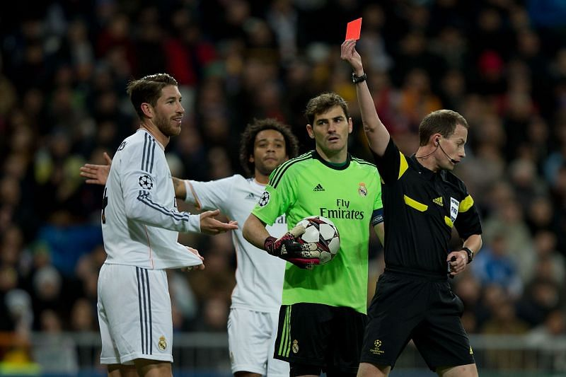 Real Madrid captain Sergio Ramos picks up trophies and red cards with the same alacrity