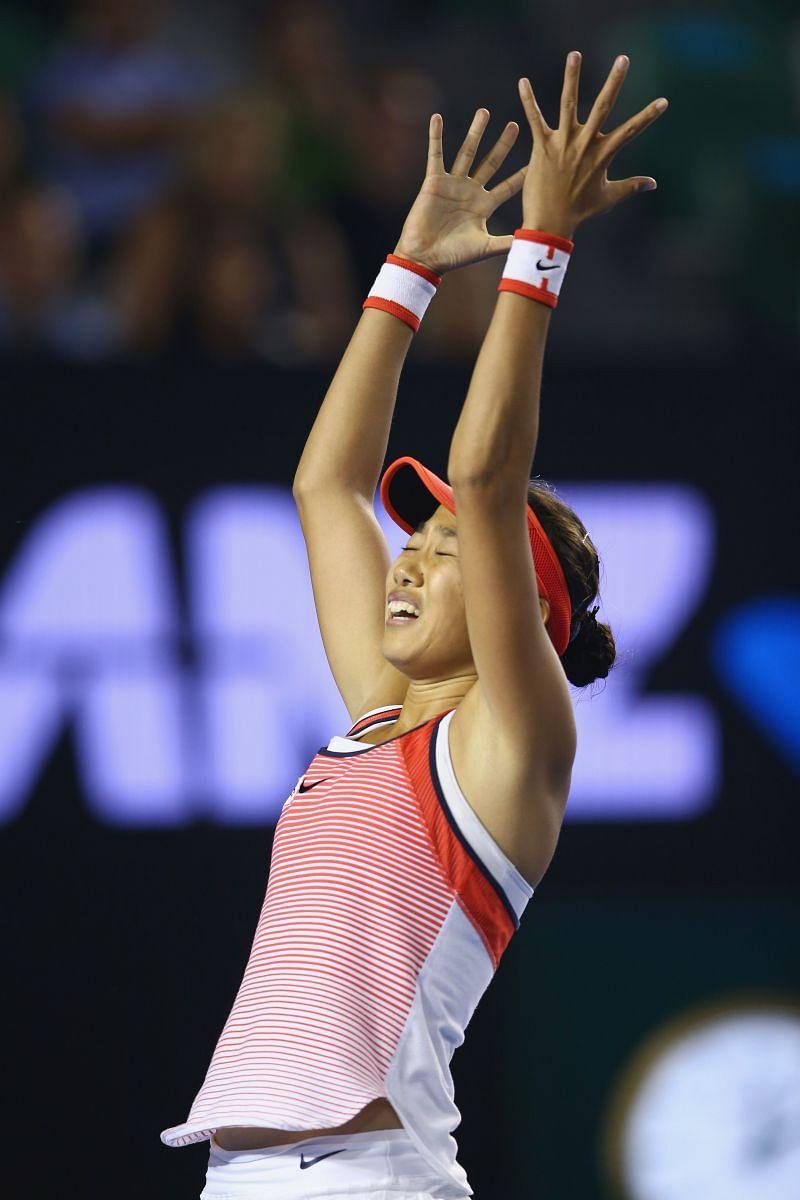 Shuai Zhang celebrates her fourth round win over Madison Keys at the 2016 Australian Open
