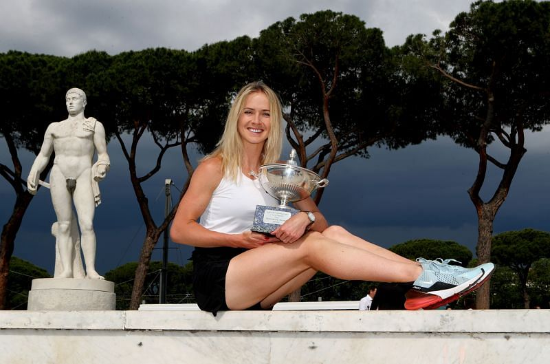Elina Svitolina poses with the trophy after winning the Internazionali BNL d