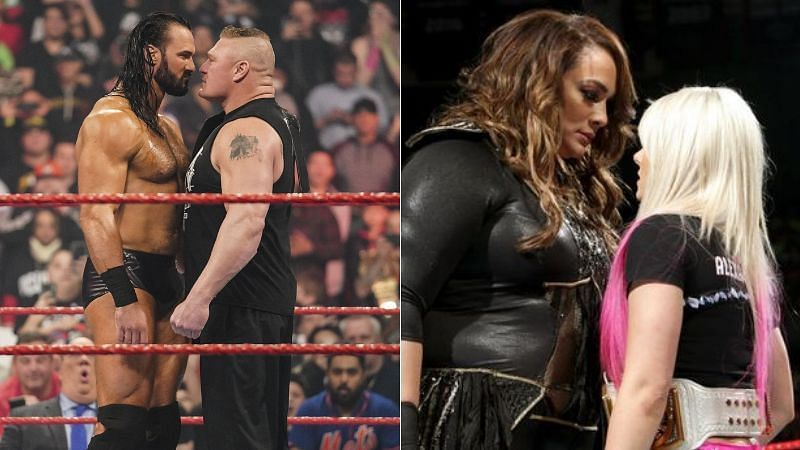 Drew McIntyre and Brock Lesnar (left); Nia Jax and Alexa Bliss (right)