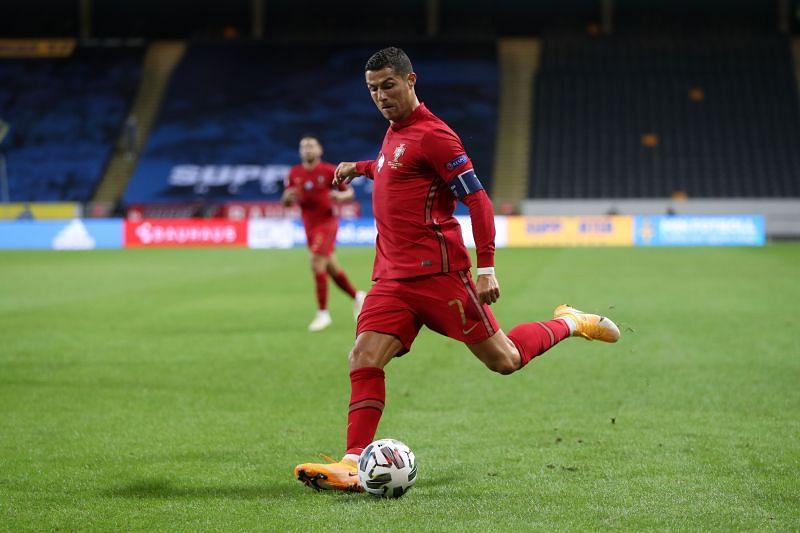 Cristiano Ronaldo of Portugal shoots during the UEFA Nations League.