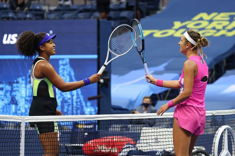 Naomi Osaka and Victoria Azarenka after the US Open women