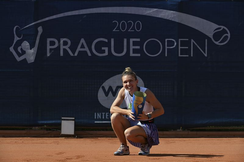 Simona Halep with the WTA Prague Open trophy last month.