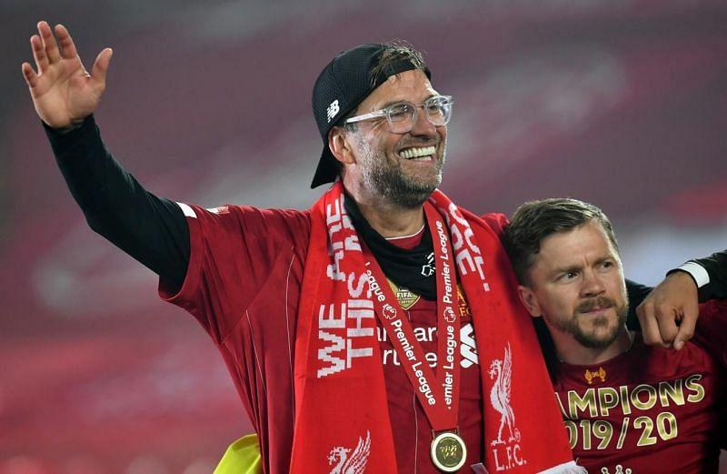 Jurgen Klopp celebrating the Premier League sans the fans.