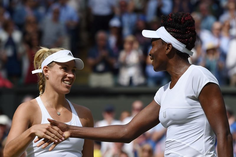 Angelique Kerber (L) and Venus Williams