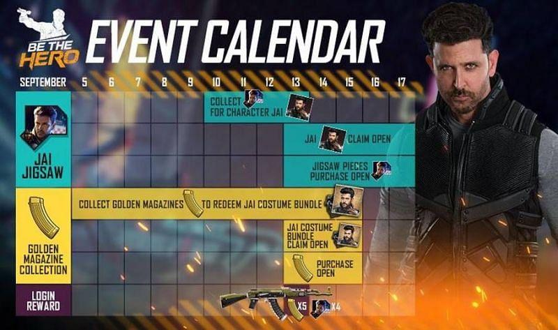 Free Fire event calendar