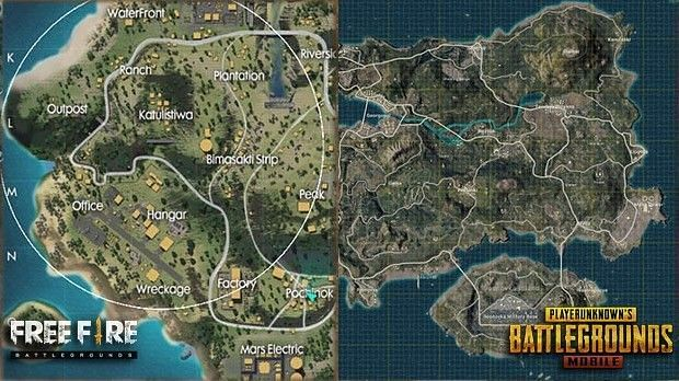 Maps in PUBG Mobile and Free Fire (Image Credits: Technology World - blogger)