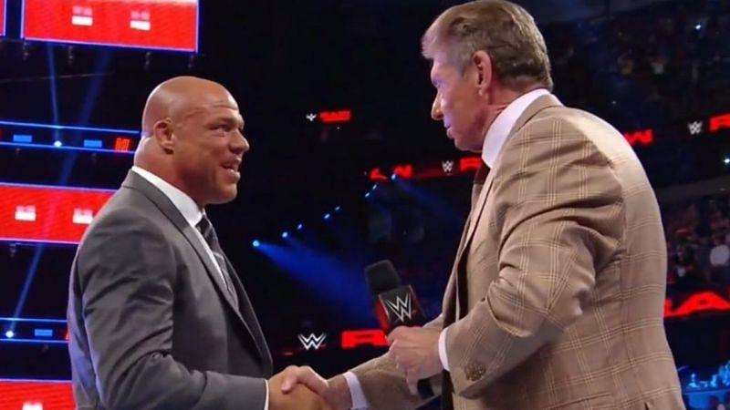 Kurt Angle with the WWE Chairman Vince McMahon