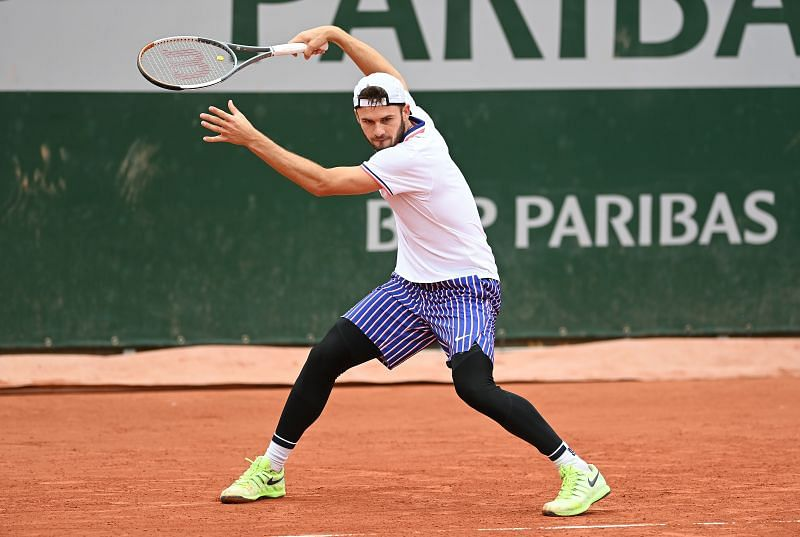 Tommy Paul during his first round win over James Duckworth at the 2020 French Open.