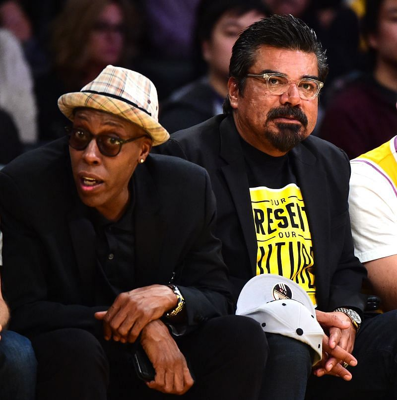 Arsenio Hall sitting courtside at a LA Lakers game