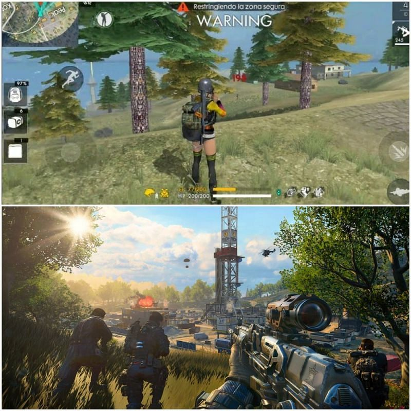 Free Fire graphics (above) vs COD Mobile (below)