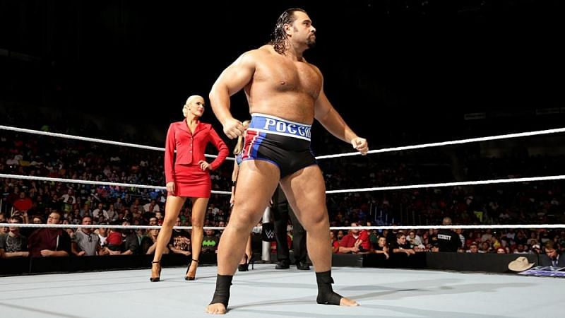 Rusev in WWE with Lana