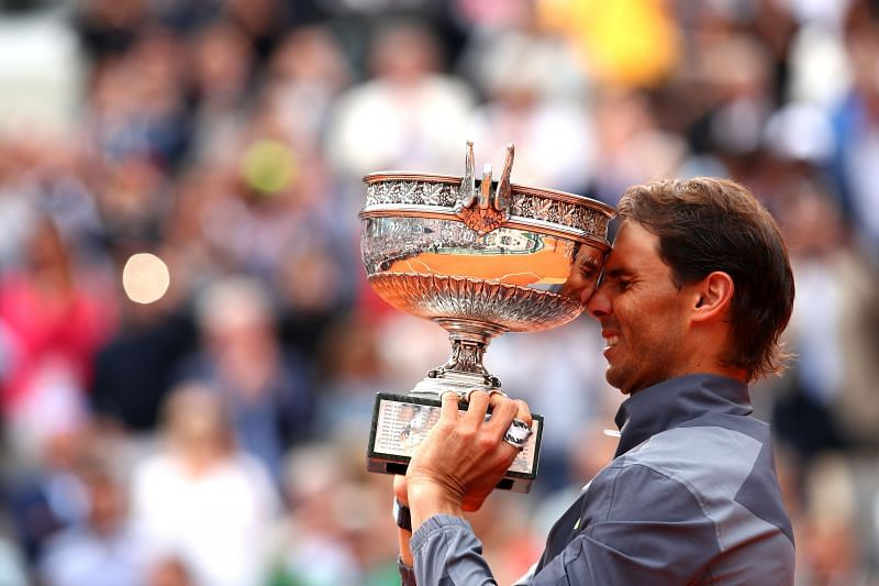 Rafael Nadal poses with the 2019 French Open trophy