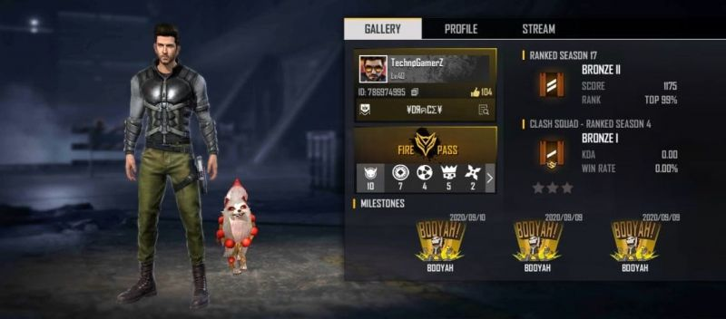 Ujjwal Gamer's (Techno Gamerz) Free Fire ID number, stats, K/D ratio and more