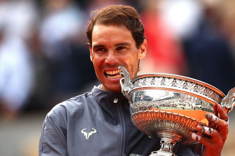 Rafael Nadal with the trophy at the 2019 French Open