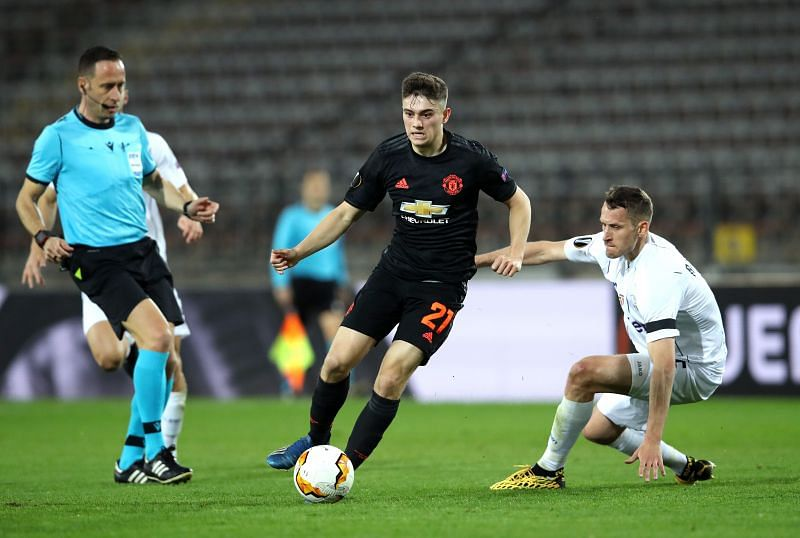 Daniel James of Manchester United is challenged by Christian Ramsebner of LASK