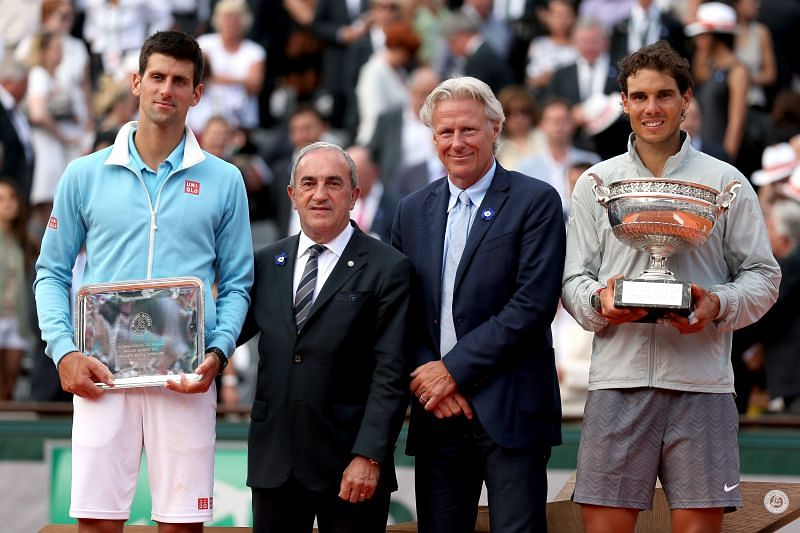 Rafael Nadal with Novak Djokovic at the 2014 French Open.