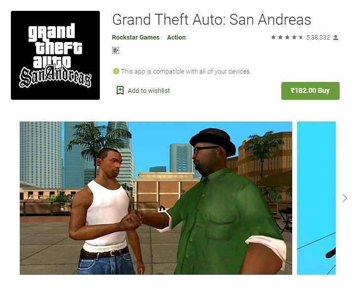grand theft auto san andreas play store