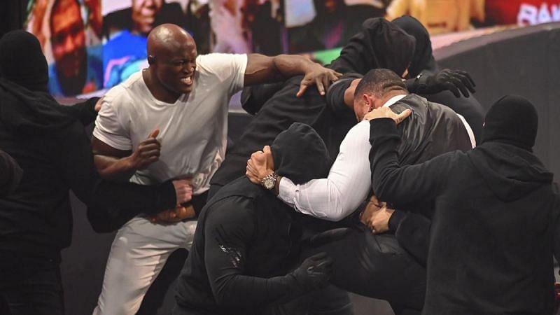 Bobby Lashley fighting RETRIBUTION on WWE RAW