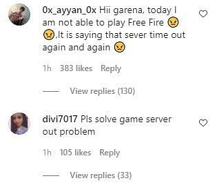 Snippet of the comment section from their recent Instagram post