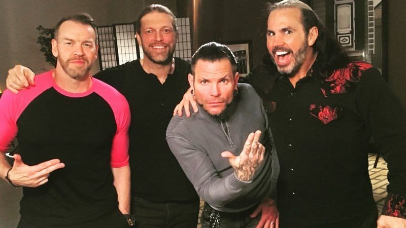 Matt Hardy in WWE with Jeff Hardy, Edge, and Christian