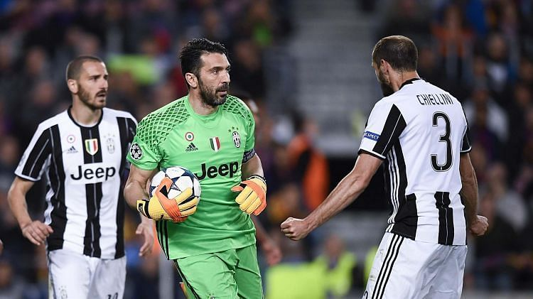 Leonardo Bonucci, Gianluigi Buffon and Giorgio Chiellini (from left to right) have won 29 Serie A titles between them