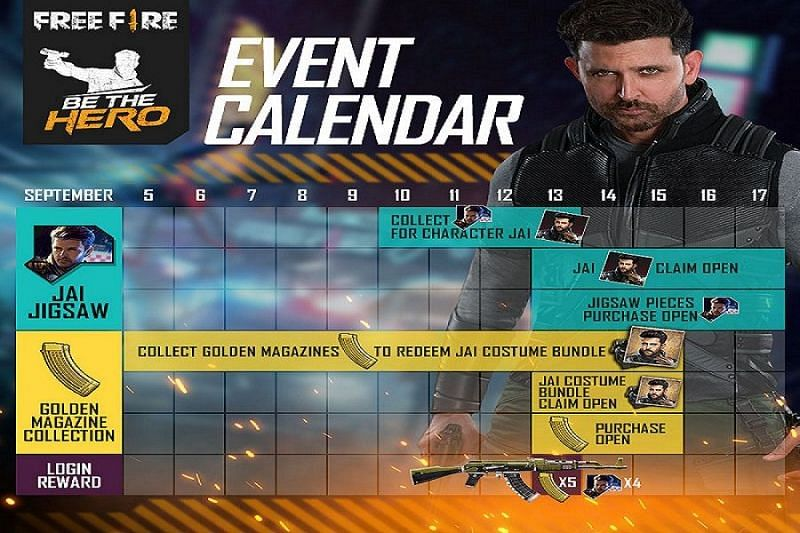 Be the Hero event calendar (Image Credit: Garena Free Fire / Facebook)