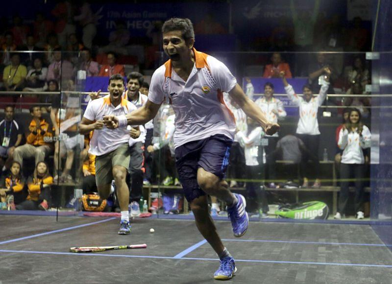 Saurav Ghosal celebrating the men