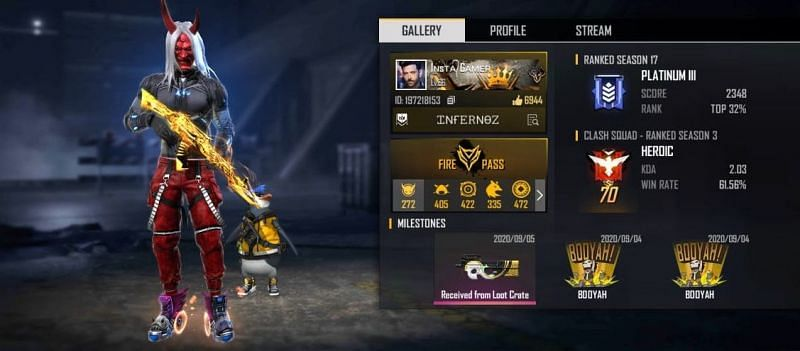 INSTA GAMER's Free Fire ID, stats, K/D ratio and more