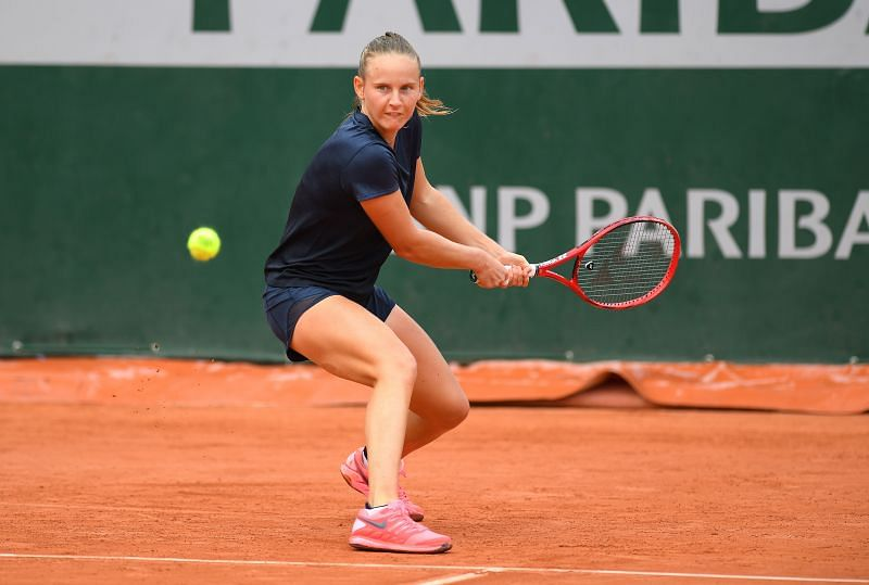 Fiona Ferro of France at the 2020 French Open at Roland Garros in Paris.