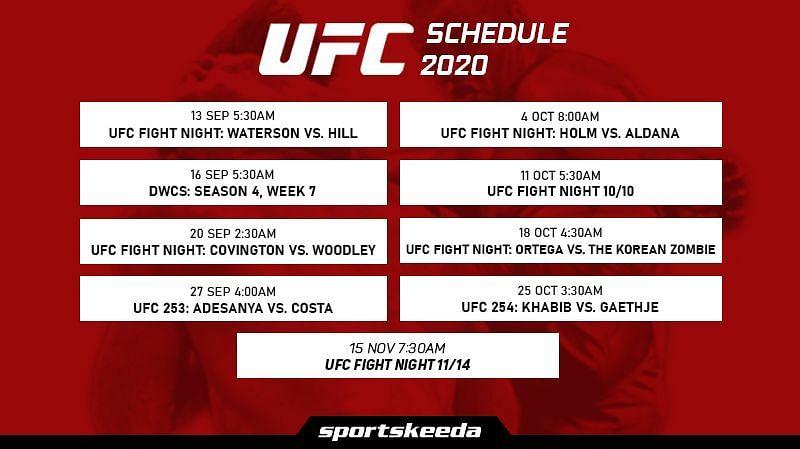 UFC Schedule 2020