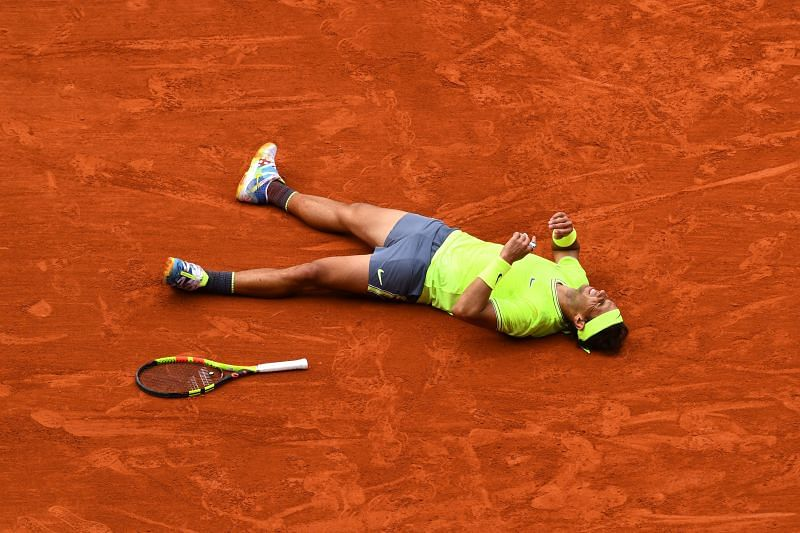 Rafael Nadal after winning the 2019 French Open at Roland Garros.