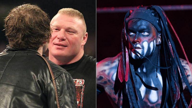 Dean Ambrose and Brock Lesnar (left); Finn Balor (right)