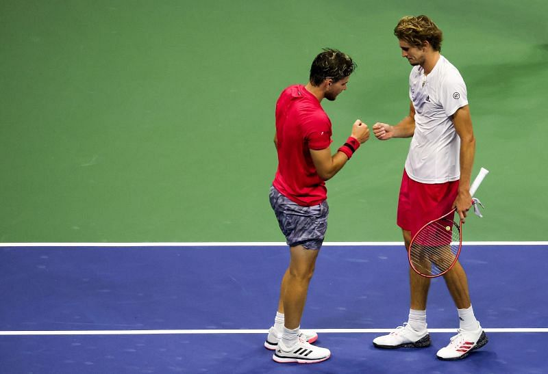 Dominic Thiem (L) and Alexander Zverev at the 2020 US Open